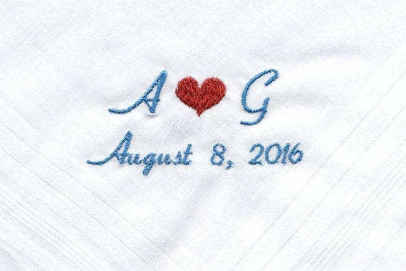 Embroidered Wedding Handkerchiefs Personalized Monogram and Date for Groom By Napa Embroidery