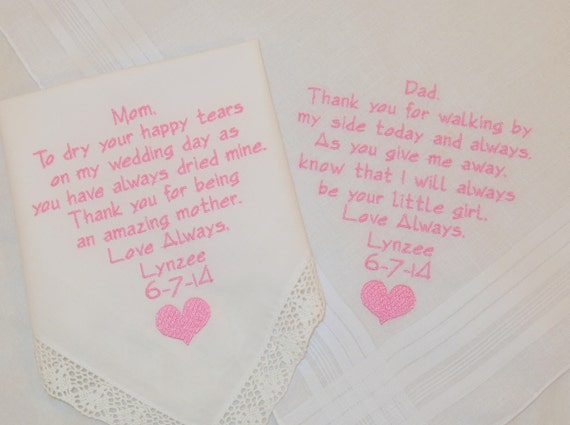 Wedding gifts for Mom and Dad Embroidered Hankerchiefs handkerchiefs Personalized gifts for parents of the bride Mother Father of the Bride