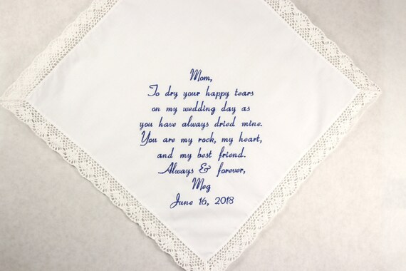 Mother of the Bride Gift from daughter Embroidered wedding handkerchief personalized Hankerchief gift from the Bride to Mom Napa Embroidery