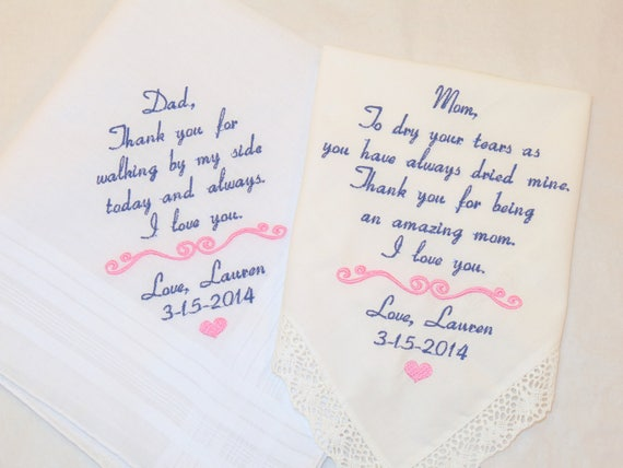 Hankerchiefs for Parents of the Bride Embroidered Wedding Handkerchiefs Gifts Mother Father from Bride Groom Personalized Napa Embroidery