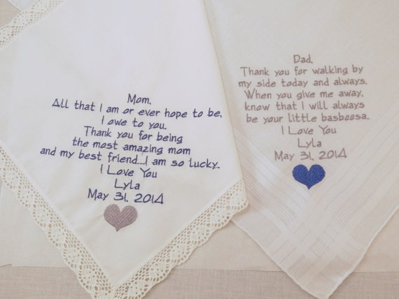 Mom Dad Embroidered Wedding Handkerchiefs hankerchiefs Personalized gifts parents of the bride wedding mother father favor momento keepsake