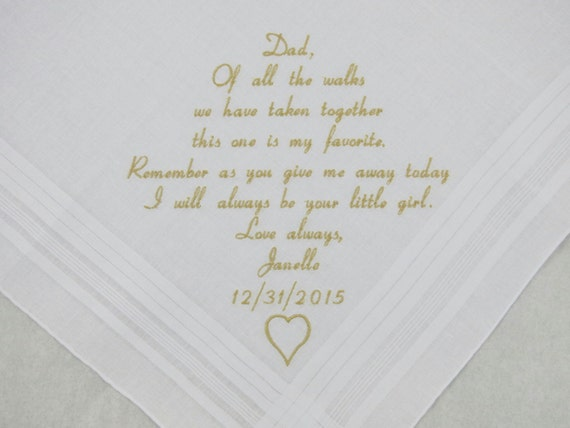 Father of the Bride Hankerchief Dad Wedding Gift for Dad Embroidered Handkerchief Personalized from Daughter to Father by Napa Embroidery