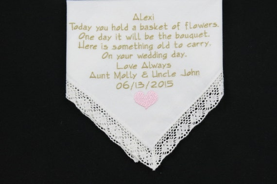 Flowergirl Gift Embroidered Wedding Handkerchief with Flower Girl poem personalized Hankerchief for Junior Bridesmaid by Napa Embroidery