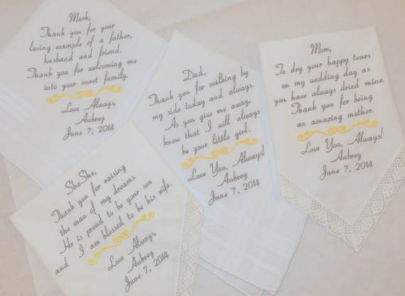 Set of 4 Wedding Gifts Family of the Bride Embroidered Handkerchiefs for Future Mother and Father in law dinner rehearsal by Napa Embroidery