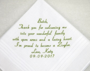 Father in law Gift Father of the Groom Gift Embroidered Personalized Wedding Handkerchief Wedding Hankerchief Wedding Gift for Custom Hanky