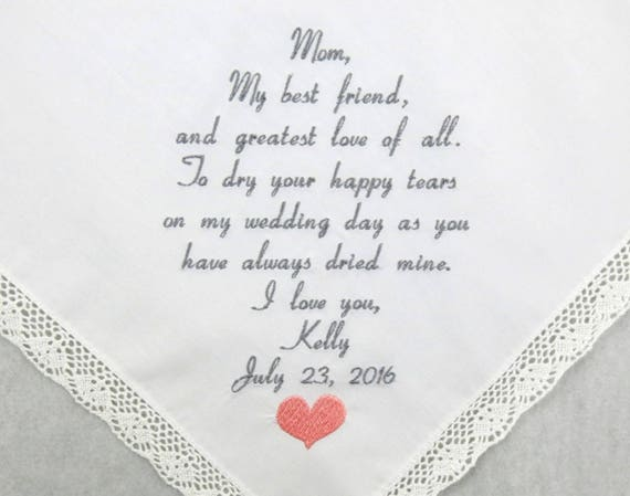 Embroidered Wedding Hankerchief Mother of the Bride gift Personalized Handkerchief Wedding Gift for Mom parent of the bride Napa Embroidery