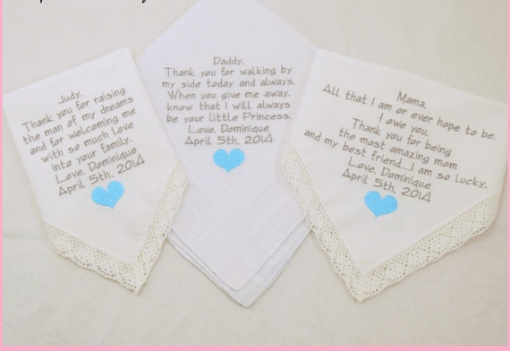 Father of the Bride Mother of the Bride Mother of the Groom Hankerchiefs Embroidered Wedding Handkerchiefs Mother in Law gifts Personalized