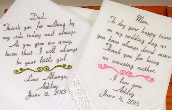 Embroidered Wedding handkerchiefs Set of 2 for Mother Father of the Bride Personalized Hankerchiefs for Parents of the Bride from daughter
