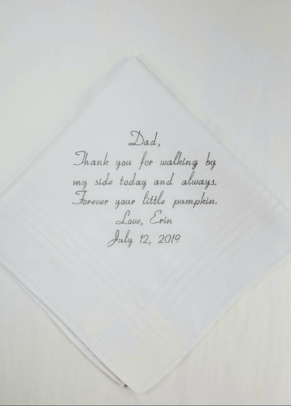 Father of the bride Gift Embroidered Personalized Wedding Handkerchief Wedding Hankerchief Gift for Dad from the Bride Custom wedding Hanky