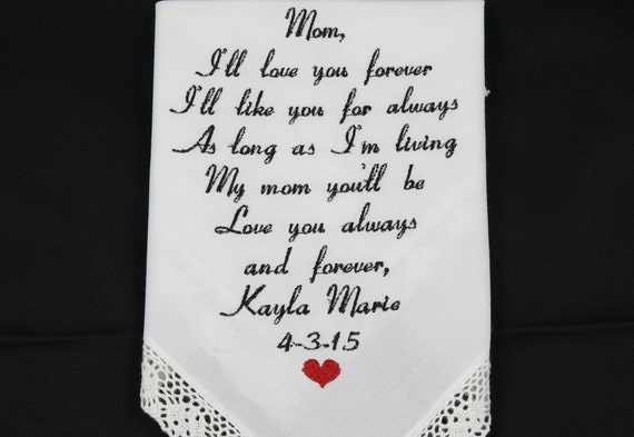 Mother of the Bride gift Embroidered Wedding Hankerchief Personalized Handkerchief wedding gift for Mom From Daughter by Napa Embroidery