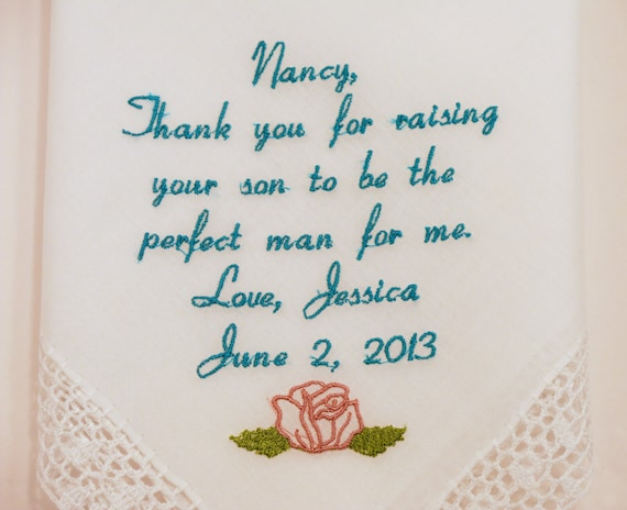 Mother of the Groom gift Wedding Hankerchief Mother in Law Wedding Gifts Personalized Embroidered Rustic Handkerchief by Napa Embroidery