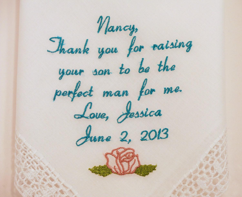 Mother of the Groom gift Wedding Hankerchief Mother in Law Wedding ...