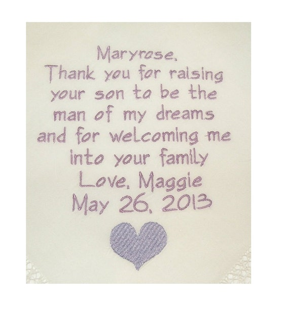 Mother of the Groom gift Personalized Hankerchief Wedding Gifts Embroidered Handkerchief for Mother in Law personalized by Napa Embroidery