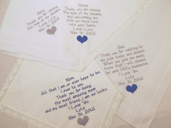 Set of 4 Embroidered Wedding Handkerchiefs GIFTS by Napa Embroidery