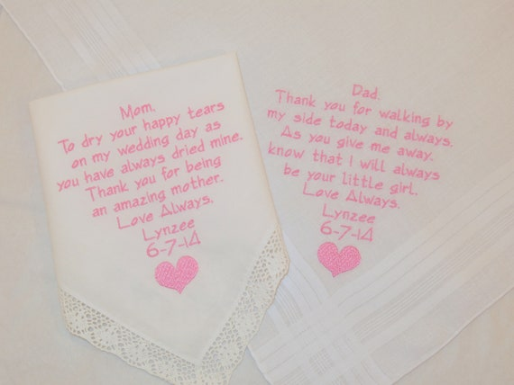 Parents of the Bride Embroidered Wedding Handkerchiefs Personalized gifts for Mom and Dad Parents of the Bride Hankerchiefs Napa Embroidery