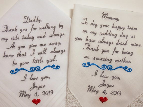 Mom Dad Embroidered Wedding Hankerchiefs handkerchiefs Personalized 2 gifts for parents of the bride wedding handkerchiefs mother father