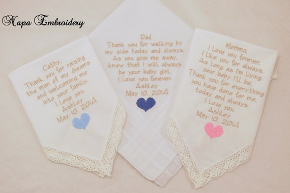 Mother of the Groom Mother of the Bride Father of the Bride Wedding Gifts set of 3 Embroidered Handkerchiefs Hankerchiefs Napa Embroidery