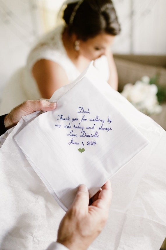 Best Seller Father of the bride Gift Embroidered Personalized Wedding Handkerchief Wedding Hankerchief Wedding Gift