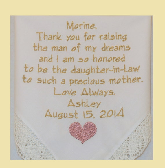 Mother of the Groom Gifts for Future Mother in Law present Personalized Wedding Embroidered Handkerchief hankerchief Gifts Napa Embroidery