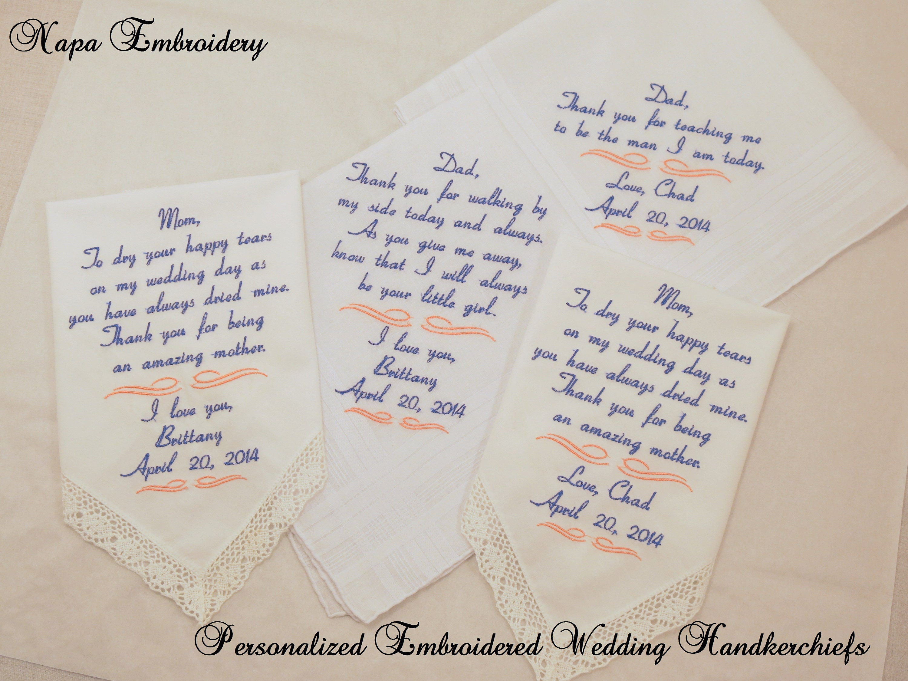 Wedding Handkerchiefs For The Family: Set Of Four Embroidered Wedding Handkerchiefs Gifts For