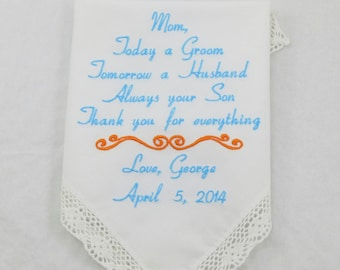Mother of the Groom gift from Son Embroidered Personalized Handkerchief for mother of the groom gift from groom Wedding Hankerchief