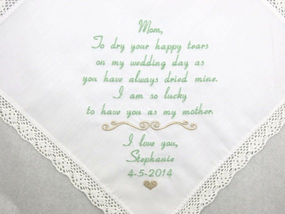 Wedding Gift for Mom of the Bride from daughter Embroidered Personalized Handkerchief for Mother of the Bride Hankerchief by Napa Embroidery
