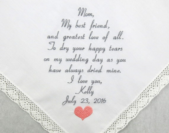 Mother of the Bride Gift from Daughter embroidered Personalized wedding hankerchief mother of the bride personalized handkerchief Gift