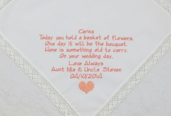Embroidered Flower Girl Handkerchief Hankerchief wedding hankies gift Flowergirl poem personalized Printed embroidery Rustic wedding gift