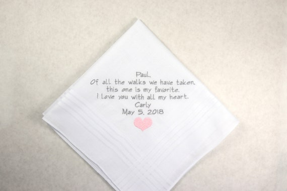 Wedding gift for Father of the Bride Personalized Embroidered Handkerchief gift printed in embroidery hankerchief for Dad from Daughter