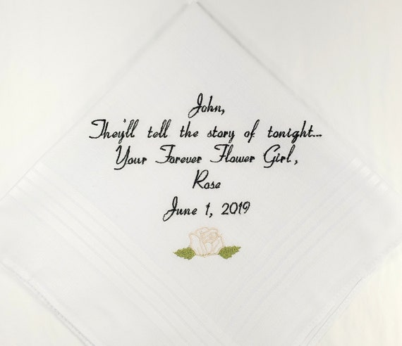 Wedding Handkerchief Gift for Fiancé Personalized Embroidered Hankerchief for future Husband From the bride for the Groom by Napa Embroidery