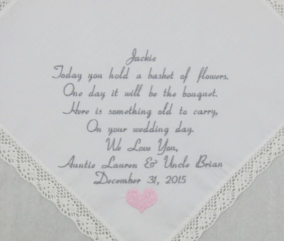 Wedding Gift for Flower Girl Embroidered Handkerchiefs Personalized by Napa Embroidery
