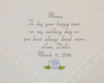 Mother of the Bride gift Embroidered Wedding Hankerchief Mother of the Bride Handkerchief Personalized Handkerchief Wedding Gift for Mom