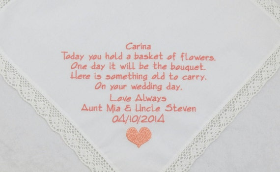 Embroidered Wedding Hankerchief Flower Girl Handkerchief for Brides Maid Printed in Embroidery FlowerGirl Poem Personalized Gift Bridesmaid