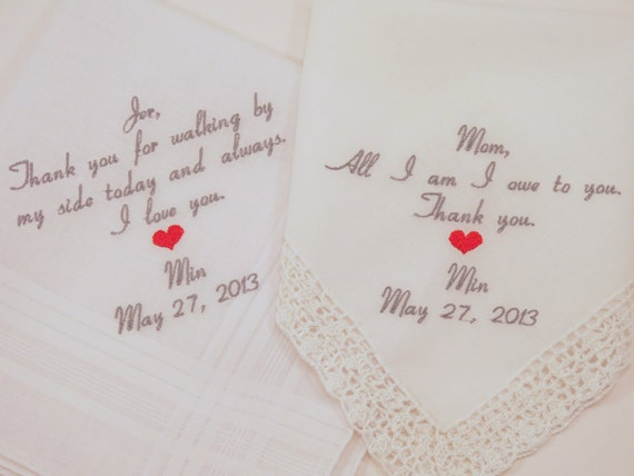 Hankerchiefs for Mom Dad Embroidered Wedding Handkerchiefs Personalized Father of the Bride gift Mother of the Bride Gift by Napa Embroidery