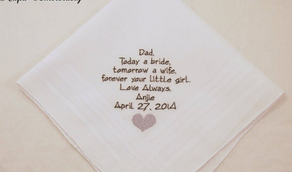 Wedding Gift for Father of the Bride Personalized Handkerchiefs For Dad with heart poem on hankies custom Embroidered by Napa Embroidery