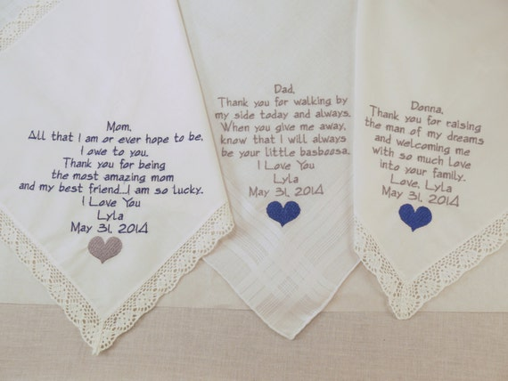 Mother of the Bride Father of the Bride Mother of the Groom Embroidered Wedding Handkerchiefs set of 3 Personalized hankerchiefs gifts