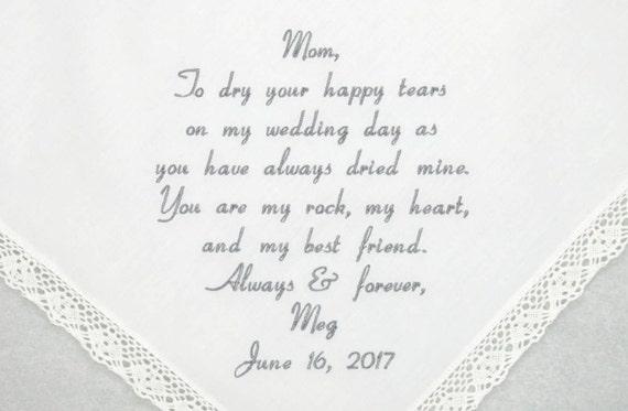 Mother of the bride gift wedding hankerchief embroidered wedding hankerchiefs mother of the bride handkerchief personalized handkerchief Mom