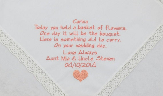 Embroidered Flower Girl Handkerchief wedding Hankerchief gift personalized Printed with embroidery Rustic Wedding Flowergirl Gift Bridesmaid