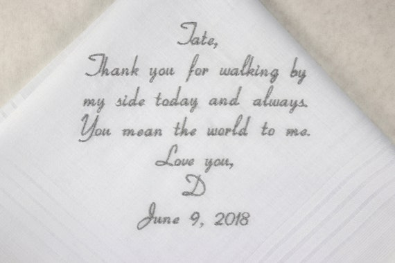 Father of the bride gift hankerchief wedding dad wedding handkerchief father of the bride gift from bride embroidered wedding gift for dad
