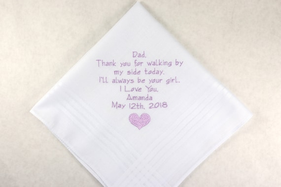 Father of the Bride Gift from daughter Personalized Wedding Handkerchief Gift for Dad Embroidered Rustic Hankerchief printed in embroidery