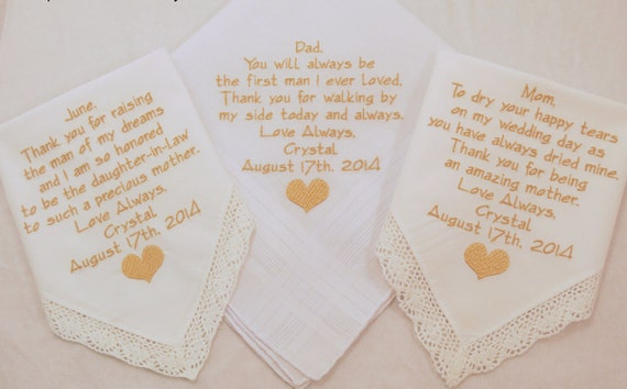 Father of the Bride gift Mother of the Groom gift Mother of the Bride gift wedding handkerchief wedding hankerchief wedding gift for parents