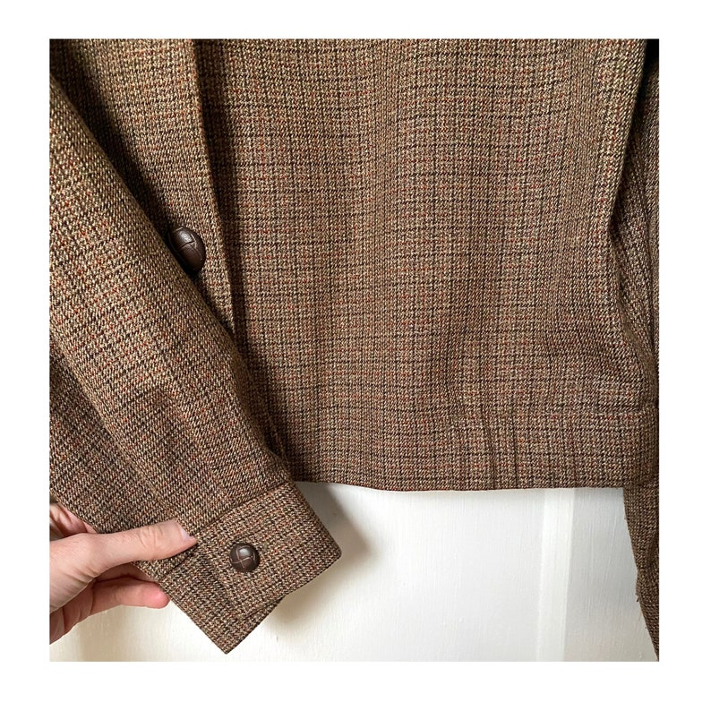 80/'s 90/'s Made In the USA Casual Corner /& Co Vintage Brown Plaid Polyester Rayon Cropped Buttoned Long Sleeve Jacket Size 10