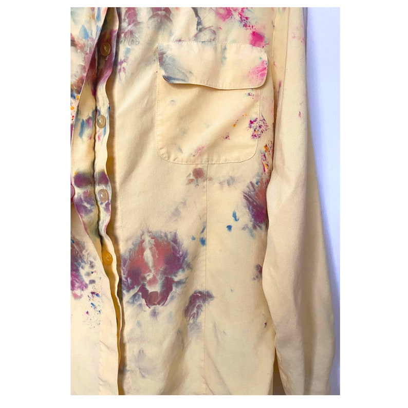 Light yellow silk long sleeve military style silk blouse Ice dyed Petite SmallMedium Anna and Frank 90/'s womens vintage blouse