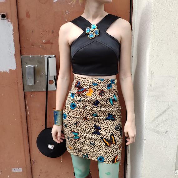 Kenzo butterfly leopard  print mini skirt