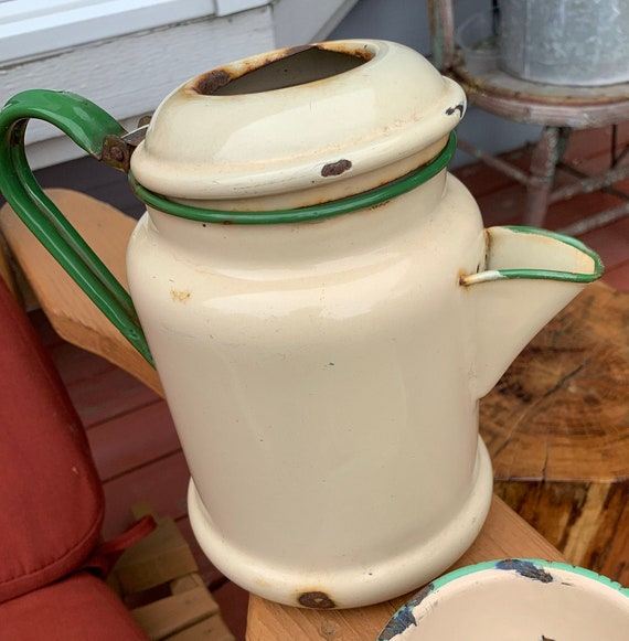 Mid Sized 9 Tall Brown and Gray Ombre Enamelware Coffee Pot KettleFarmhouse Kitchen Unique Brown and Gray Enamel KettleBrown Enamel