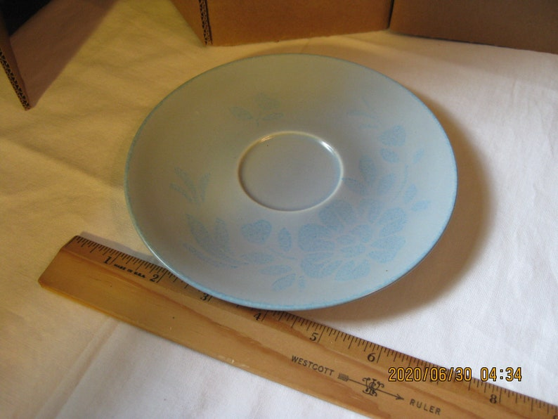saucer; Blue Shadows Duotone Pattern bread; Red Wing pottery USA Mid-Century; 6 14 dessert fruit dish Redwing #126 hand painted plate
