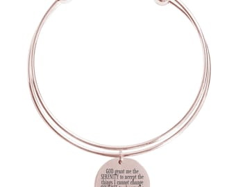 Serenity prayer double layer bangle - DOUBLEBANGLE-SERENITY-RGD - Rose Gold