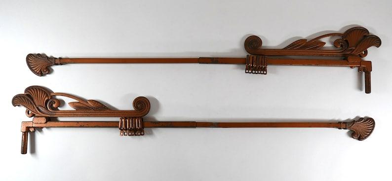 Antique Art Deco Pair of Cast Iron Swing Arm Curtain Rods