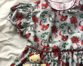 Christmas Birds Dress with a Pocket Kitty