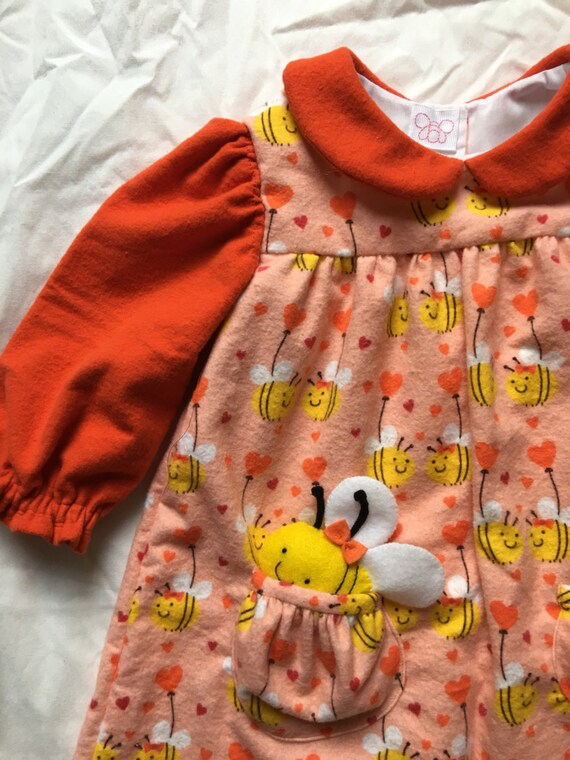 a491956c9 SALE Softy Flannel Bee Mine Dress or Tunic size 2T with